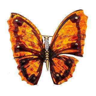 A Vintage Amber Butterfly Brooch in 18K