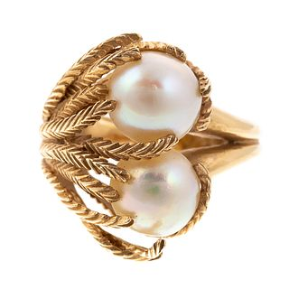 A 1960s Double Pearl Seaweed Statement Ring