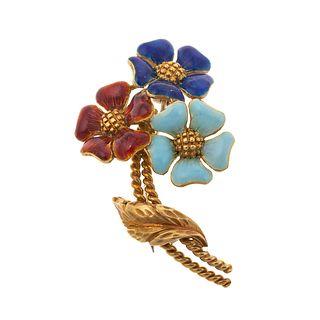 A Colorful Enamel Flower Pin in 18K