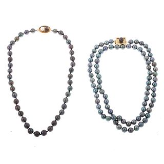 A Pair of Gray Pearl Necklaces with 14K Clasps
