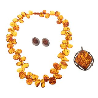 A Suite of Amber Jewelry in Sterling