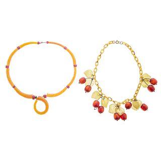 Art Glass & Art Deco Style Cherry Necklaces