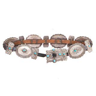 A Vintage Navajo Sterling Silver Concho Belt