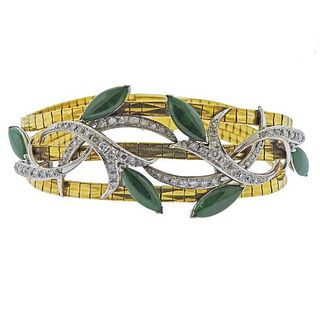 18k Gold Diamond Jade Bracelet