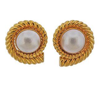 14k Gold Mabe Pearl Swirl Large Earrings