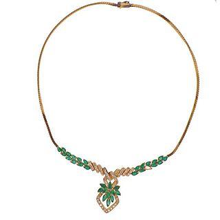 18k Gold Diamond Emerald Necklace
