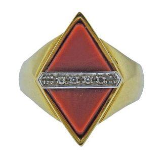 1970s 18k Gold Diamond Coral Ring