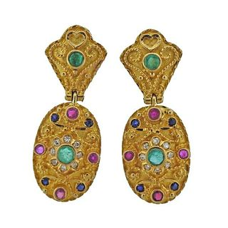 18k Gold Diamond Gemstone Earrings
