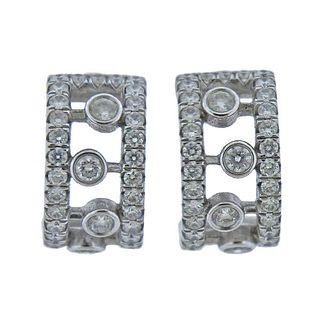 De Beers 18k Gold Diamond Hoop Earrings