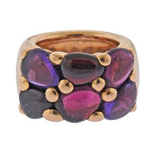 Pomellato Sassi 18k Gold Amethyst Tourmaline Garnet Ring