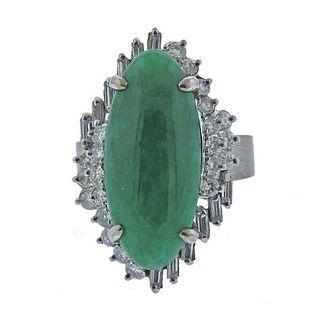 14k White Gold Diamond Jade Ring