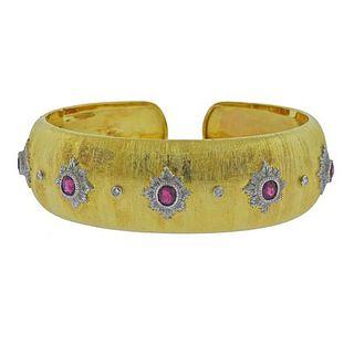 18k Gold Diamond Ruby Cuff Bracelet