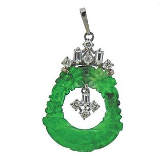 10k Gold Diamond Carved Jade Pendant
