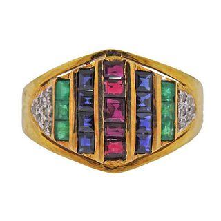 18k Gold Diamond Ruby Emerald Sapphire Ring