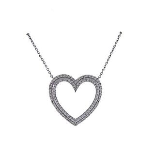 Tiffany & Co Metro Platinum Diamond Heart Necklace