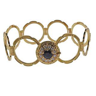 18k Gold Diamond Sapphire Ring Convertible Bracelet