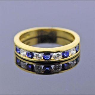 Tiffany & Co 18k Gold Diamond Sapphire Band Ring
