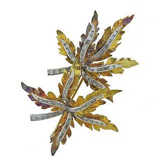 18K Gold Diamond Leaf Motif Brooch Pin