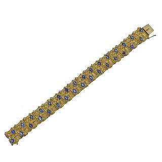 14K Yellow Gold Sapphire Bracelet