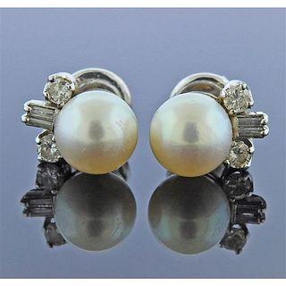 18K Gold Diamond Pearl Stud Earrings