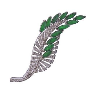 14K Gold Diamond Jade Leaf Motif Brooch Pin