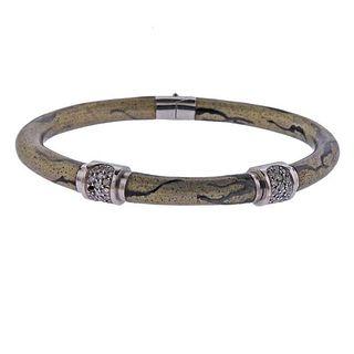 Soho Italy 18k Gold Diamond Enamel Bangle Bracelet
