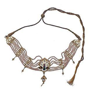 Indian High Karat Gold Enamel Paste Pearl Necklace