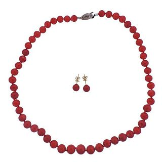 Coral Bead Silver Necklace 14k Gold Earrings Set