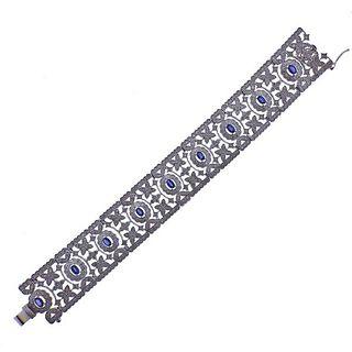 14k Gold Diamond Sapphire Openwork Bracelet