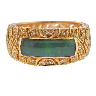 18K Gold Diamond Jade Half Band Ring