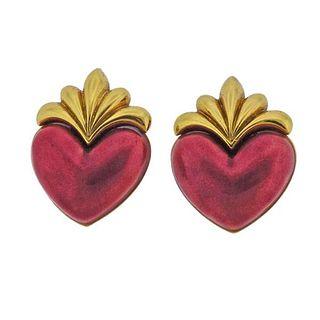 Boris LeBeau 18K Gold Enamel Heart Clip on Earrings