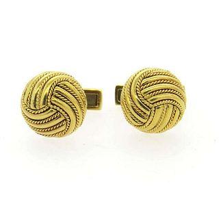 Tiffany & Co 18K Gold Large Knot Cufflinks