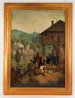 1920 German Religious Nativity Scene Painting