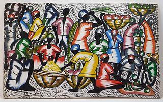 Attr. Lucien Joel Haitian Folk Art Painting
