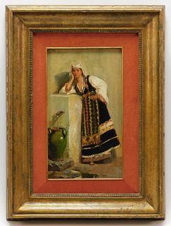Giacomo Mantegazza Orientalist Woman Painting