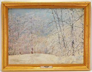 E. Joseph Fontaine Winter Landscape Painting