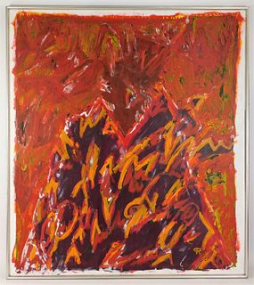 Modern Red Abstract Expressionism Painting