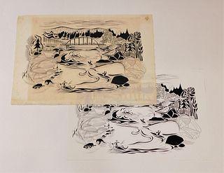 2PC Francis Hamabe Woodblock & Lithograph