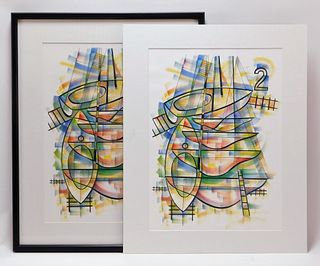 PR Francis Hamabe Modern Abstract Lithograph