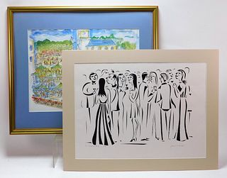 2PC Francis Hamabe Modern Figure Litho & Serigraph