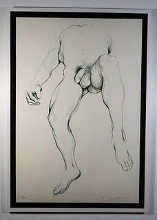Lowell Nesbitt Reclining Male Nude Lithograph