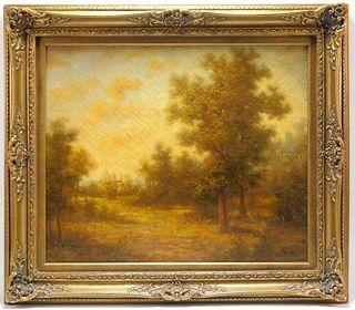 19C American School Tonalist Landscape Painting