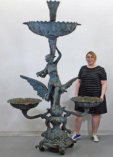 Monumental Bronze Art Nouveau Fountain