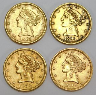4PC United States 5 Dollar Gold Coin Group