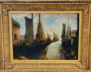 American Antique Oil Painting, Gloucester