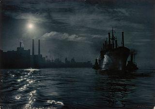 A. Aubrey Bodine (American, 1906-1970) Dawn Arrival, Baltimore Harbor, 1955