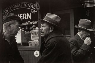 Horace Bristol (American, 1908-1997) A group of five photographs (Streets of San Francisco - Winos Arguing, 1936 (printed 1990); Ma Joad #4, Crying, 1