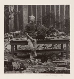 Imogen Cunningham (American, 1883-1976) Edward Weston, Photographer, with His Cats, 1945