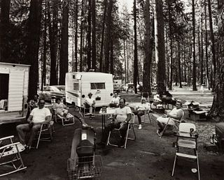 Bruce Davidson (American, b. 1933) A group of four photographs (Sicily, 1961; The Cafeteria, 1973; The Trip West, Camp Ground, 1966; Women Playing Boc