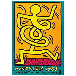 """KEITH HARING, Cartel del Festival de Jazz de Montreux de 1983, Signed and dated 83 on plate, Serigraph without print number, 39.3 x 27.5"""" (100 x 70 cm"""